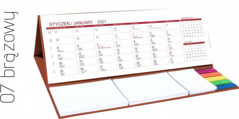 Kalendarz biurkowy z notesami i znacznikami MAXI 2021 brązowy