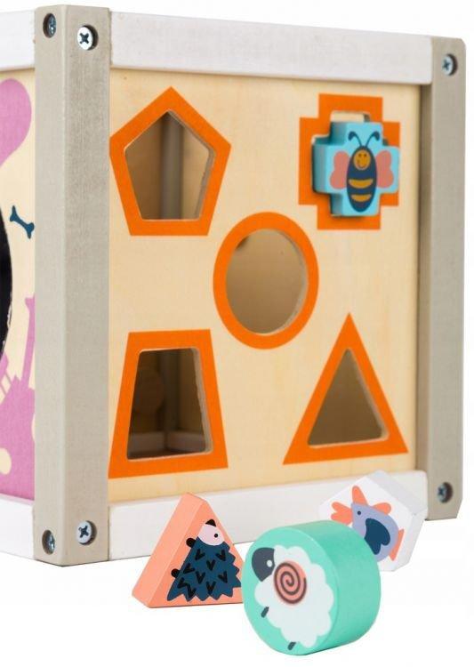 Drewniany sorter kostka edukacyjna +klocki Ecotoys