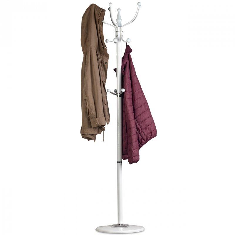 Wieszak na ubrania odzież stojak stabilna podstawa Biały