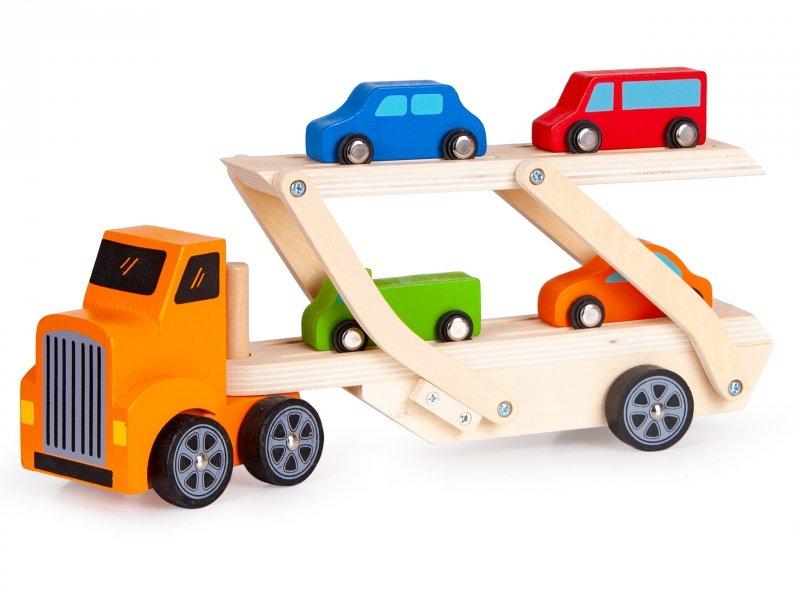 Drewniana  ciężarówka tir + 4 auta Ecotoys
