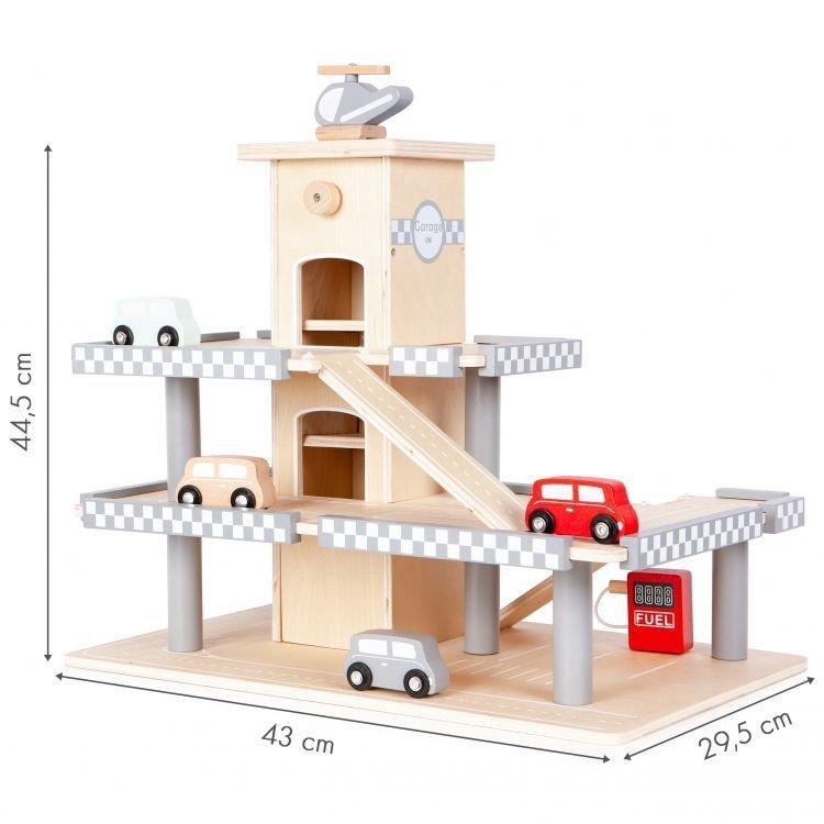 Duży drewniany  garaż  z windą + autka Ecotoys