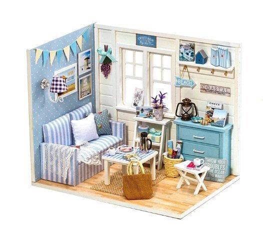 Domek dla lalek drewniany pokój dzienny model do złożenia LED DIY 3016