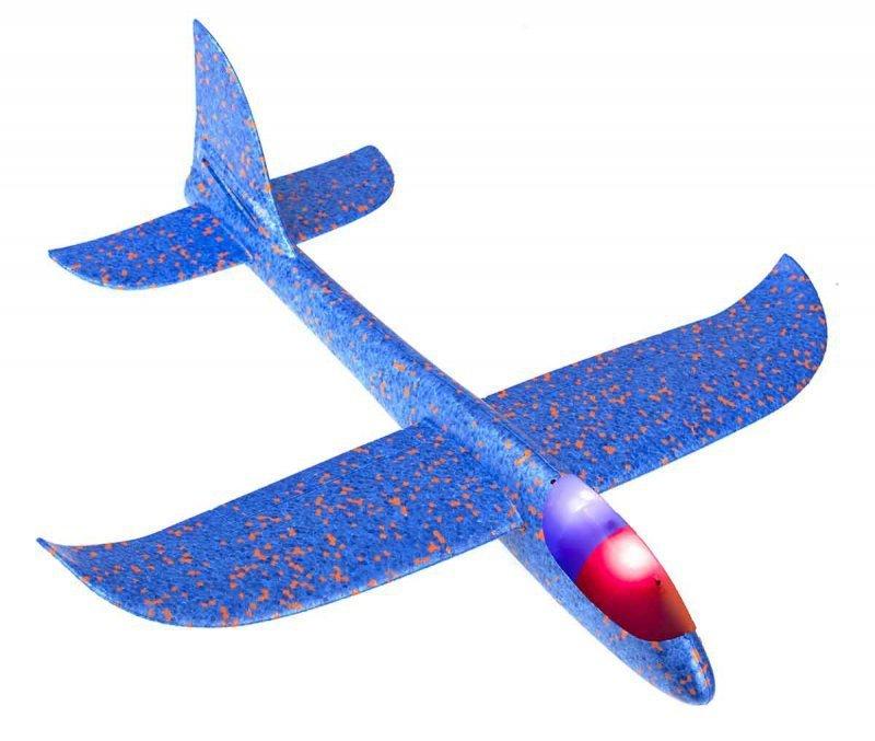Szybowiec Samolot styropianowy 2LED niebieski 48x47cm