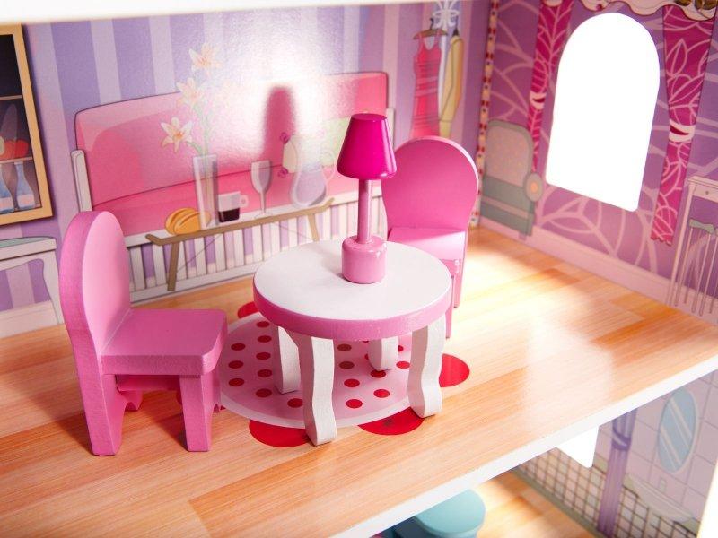 Domek-drewniany-dla-lalek-Różowa-Willa-70cm-LED-10