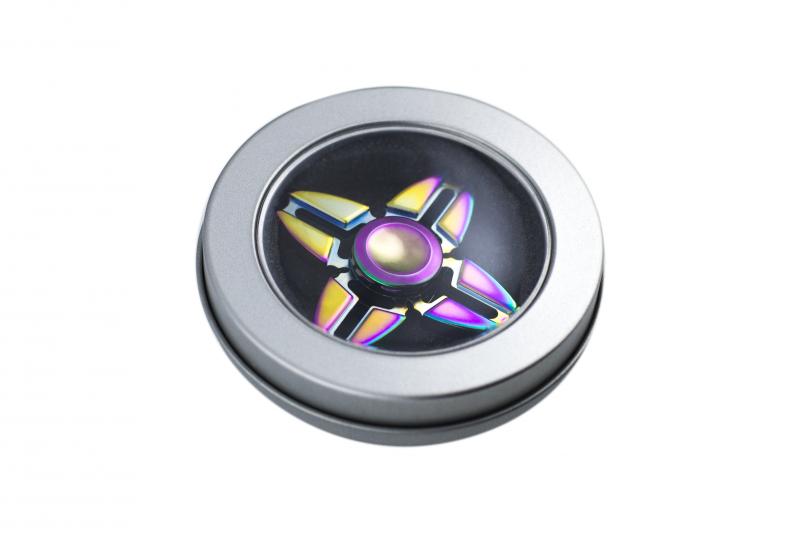Fidget Spinner Metalowy Tęczowy wzór 6 + box