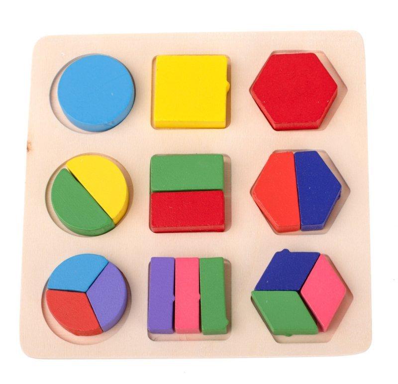 Zabawka drewniana dopasuj kształty 18 el klocki