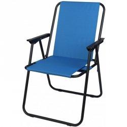 Krzesło turystyczne z podłokietnikami 52x44x75cm składane niebieskie