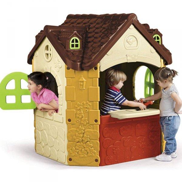 FEBER Duży Domek Ogrodowy dla Dzieci Fancy z Blatem Kuchennym i Zlewozmywakiem