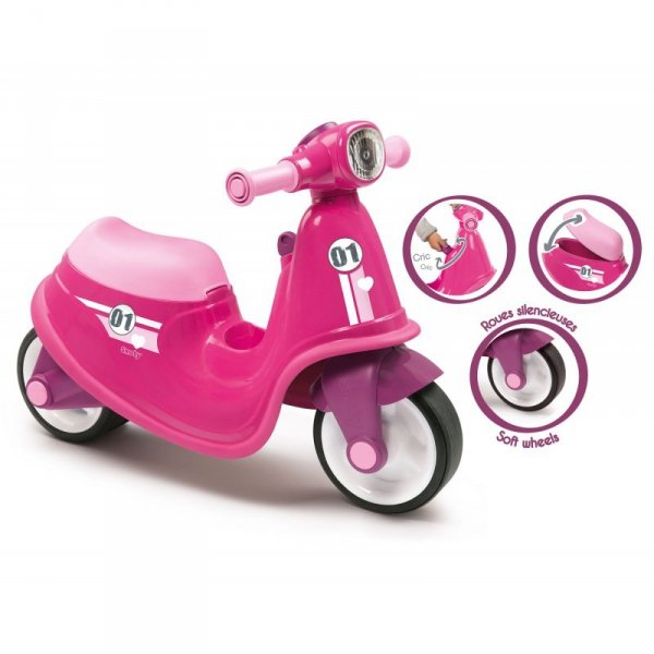 Smoby Różowy jeździk skuter Ciche koła Pink Scooter