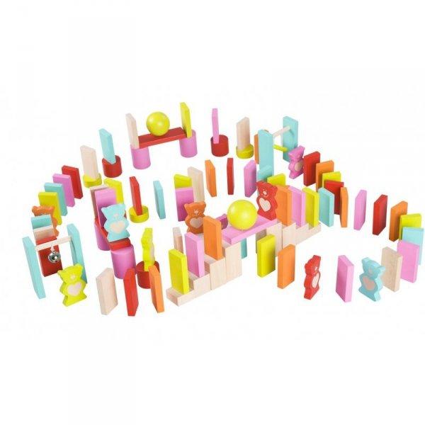 Drewniane Kolorowe Domino 105 elementów - Misie Classic World