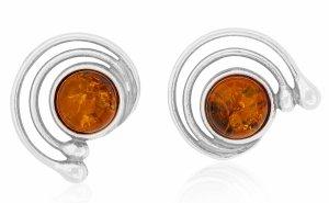CERCHI DI LUNA,  Piercing in argento con pietra d'ambra