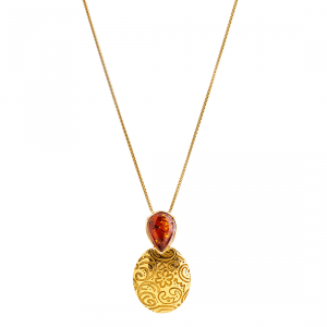 Collana Memorie di Babilonia, Ambra, Cognac, Placcato Oro