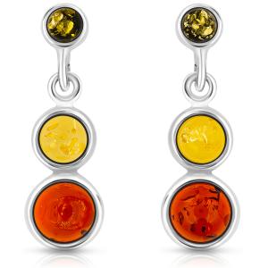 3 LUCI,  Orecchini d'argento con ambra