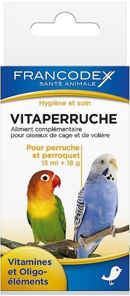Francodex 174052 Witaminy dla papug 15ml+18g