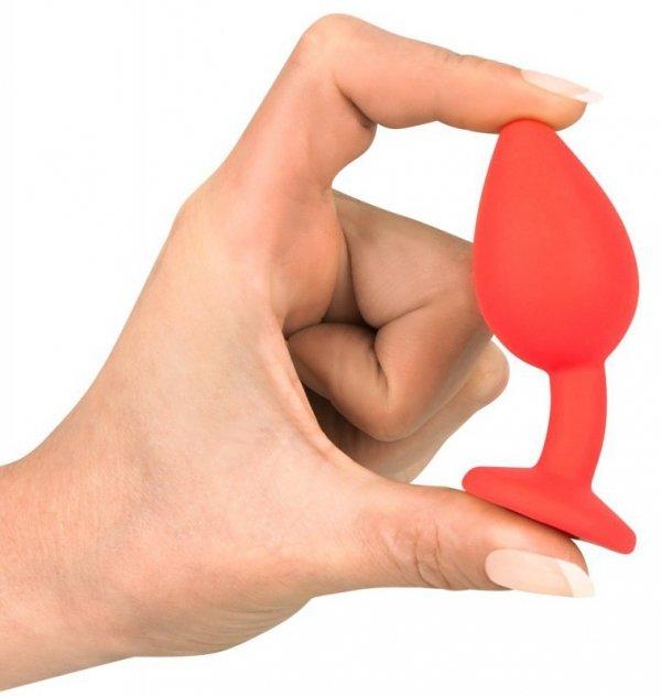 Korek analny silikonowy Joy Jewel czerwony 7,2 cm