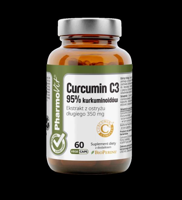 Curcumin C3 95% kurkuminoidów Ekstrakt z ostryżu długiego 350 mg - 60 kapsułek Vcaps® PharmoVit