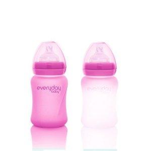 Szklana butelka ze smoczkiem S reagująca na temperaturę, 150 ml, wiśniowa, Everyday Baby