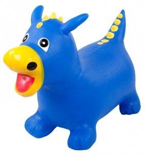 Skoczek smok gumowy - niebieski