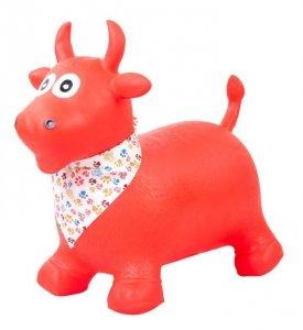 Skoczek byczek gumowy - czerwony z chustą