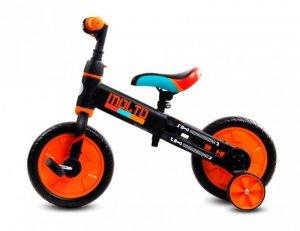 Rowerek biegowy Molto z opcją + pedały + kółka boczne pomarańczowy