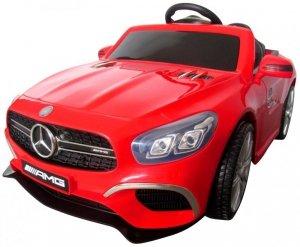 Mercedes SL63 czerwony Miękkie koła Eva, miękki fotelik Licencja