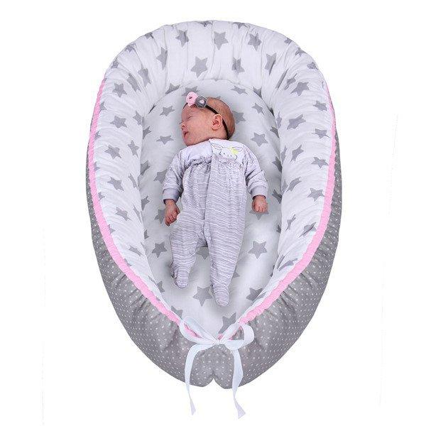 Lulando Kokon dla dziecka biały w szare gwiazdki+szary w białe groszki