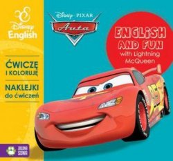 Auta Ćwiczę i koloruję z naklejkami  English and fun with Lightning McQueen