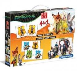 Zwierzogród Zestaw 4w1 Memory Puzzle Domino Klocki