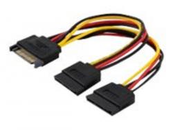 Kabel zasilający SAVIO SATA 15-pin (wtyk)- 2 x SATA 15-pin (gniazdo) 0.18m. SAVAK-17