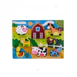 Drewniane Puzzle Farma 8 elementów #D1