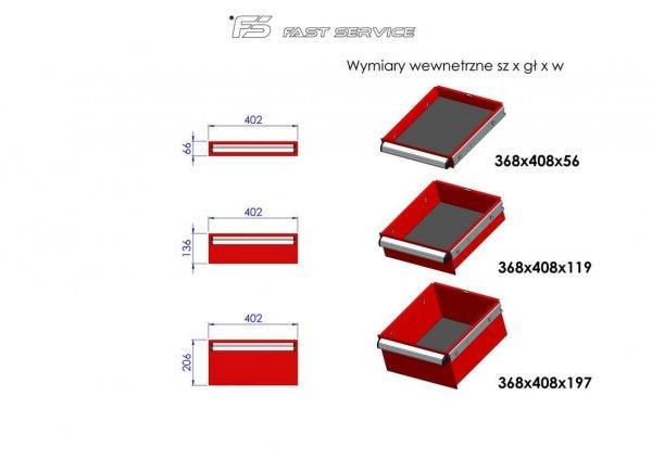 Wózek narzędziowy MEGA z 17 szufladami PM-210-13