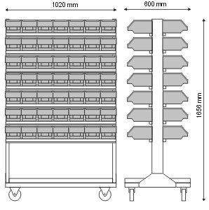 Stojak narzędziowy z 14 listwami na 98 pojemników P3 (dwustronny) P-5-04-02