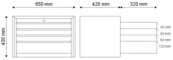 Nadstawka narzędziowa z 4 szufladami N-1-00-02