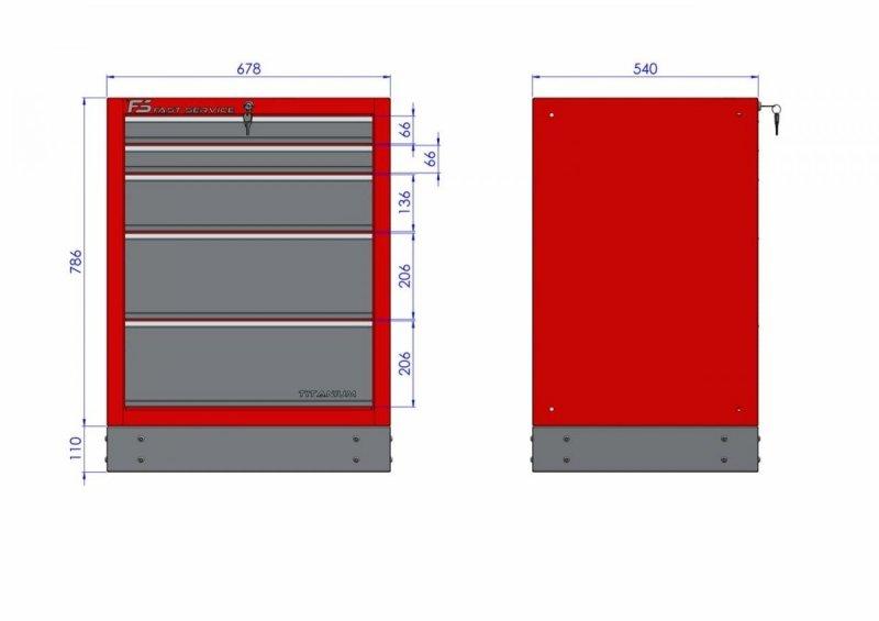 Szafka warsztatowa z 5 szufladami – T-22  wymiary