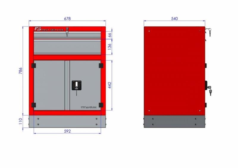 Szafka warsztatowa z 2 szufladami i drzwiami – T-31 wymiary