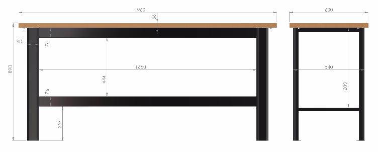 N-3-00-03 STÓŁ WARSZTATOWY PODSTAWOWY  BLAT OBITY BLACHĄ OCYNKOWANĄ  (SZER. BLATU 1960 mm)