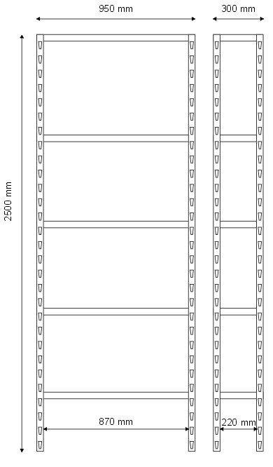 Regał warsztatowy 2500x950x300 - 5 półkowy lekki R-1-05-02 wymiary