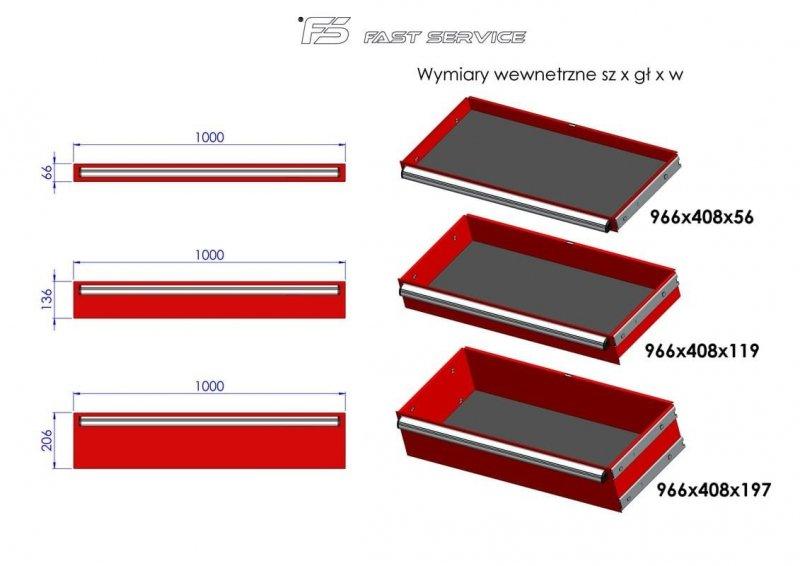 Wózek warsztatowy MEGA z 13 szufladami PM-211-18