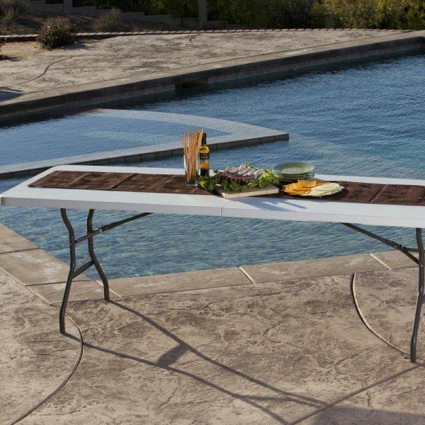 Półkomercyjny stół składany 244 cm (biały granit) 80270