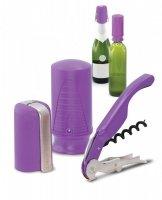 Zestaw akcesoriów do wina i szampana - fioletowy Pulltex