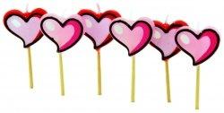 Świeczki na tort HEARTS - 6 szt Tala