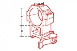 Montaż szybki dwuczęściowy średni Leapers UTG 30/weaver Quick Detach 4 śruby