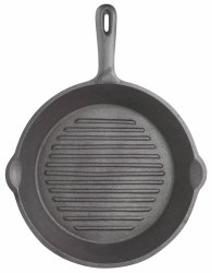 Patelnia żeliwna grillowa - okrągła Kitchen Craft