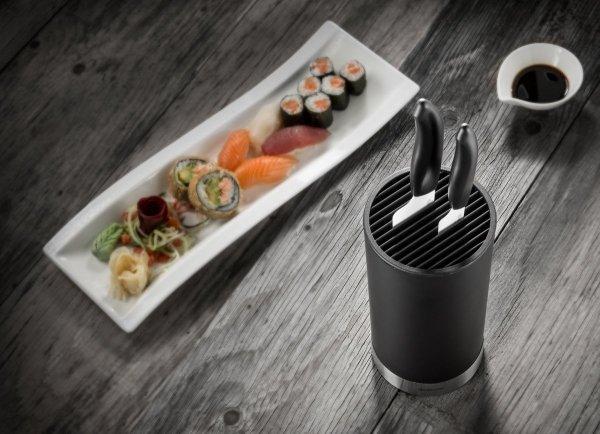 Czarny blok z 2 nożami ceramicznymi Kyocera