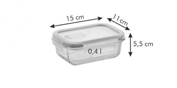 Pojemnik FRESHBOX Glass 0.4 l, prostokątny