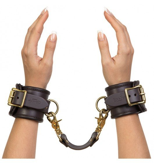 Coco de Mer Leather Wrist Cuffs S/M Brown