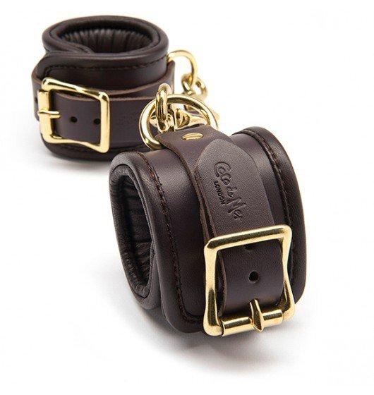 Coco de Mer Leather Wrist Cuffs L/XL Brown