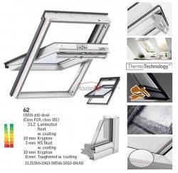 Okno Dachowe Velux GGU 0062 Uw = 0,92 Drewniano-poliuretanowe białe okno obrotowe superenergooszczędne, szkło hartowane i laminowane P2A z pakietem świetnej redukcji hałasu