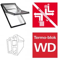 Okno dachowe Roto obrotowe Designo  R69G K200 Okno z pakietem 3-szybowym Comfort, szkło hartowane i laminowane, plastikowe Uw = 1,0/0,9, Termo-blok WD