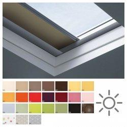 Fakro roleta zaciemniająca do dachów płaskich ARF/D Solar grupa cenowa II, przeznaczone do okien typu F, C oraz G zasilana z paneli solarnych obsługiwana pilotem.